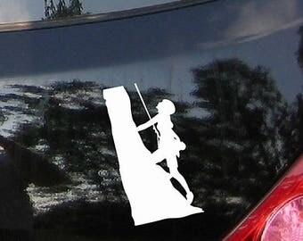 Climbing Woman - Adventure Car Sticker Decal with Mountains, Vinyl Sticker, Bumper Sticker, Vinyl Decal, Car Window Decal, Laptop Sticker