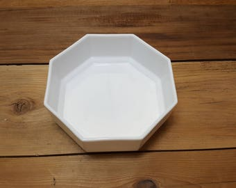 Vintage Arcopal Octime White Stacking Bowl Octagon Geometric Shape Bowl Vintage 70s Made In France Modern Industrial Kitchen Decor
