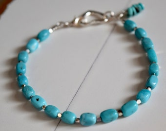 Genuine Turquoise Bracelet~ Narcozari Turquoise and Sterling Silver Bracelet~ Turquoise Jewelry~ Handmade with Love