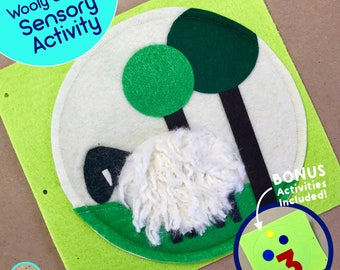 Wooly Sheep Quiet Book Page for TinyFeats Activity Book - Baby Sensory Activity - Montessori Educational Toy for Baby- Best Children's Book