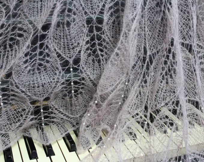 Knitted shawl, beige shawl, knit shawl with beaded, knit scarf, triangular scarf, mohair shawl, openwork scarf,bridal shawl, wedding wrap