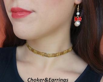 Pearl Earrings, Gold Beaded Choker, Gold Choker, Gemstone Choker, Earrings, women gift, chain choker, Gypsy Jewelry
