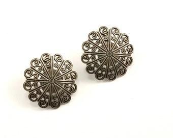 Vintage Scroll Design Flower Stud Earrings 925 Sterling ER 187-E