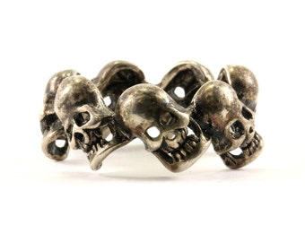 Vintage Skull Design Band Ring 925 Sterling RG 845