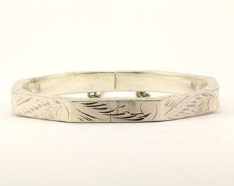 Vintage Floral Etching Bangle Bracelet 925 Sterling Silver BR 2180