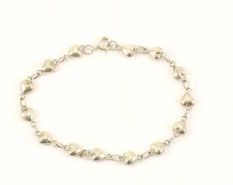 Vintage Hearts Chain Bracelet 925 Sterling BR 2206