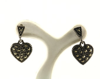 Vintage Heart Shape Marcasite Drop/Dangle Earrings 925 Sterling Silver ER 968