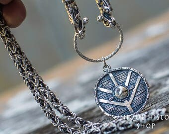 Unique Set of Sterling Silver Viking Chain and Viking Shield Pendant