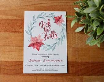 Christmas Bridal Shower Invitation, Deck The Halls, Bridal Shower Invitation, Winter Bridal Shower, printable or printed