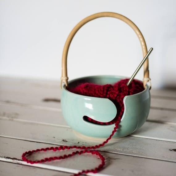 Yarn Bowl Caddy Tote with Bamboo Handle Ready To Ship