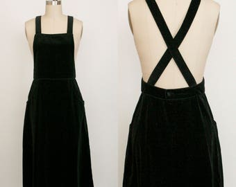 Vintage Lanz Originals Black Velvet Dress - Cross Strap Jumper Pinafore - Women's 9 / 10 - Pockets - Inky Black - Women's Small