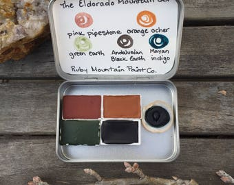 The Eldorado Mountain Set.  A handmade watercolor paint set featuring 5 colors