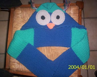 Kids hooded scarf knitted turquoise blue wool hands 9/12 months OWL pattern