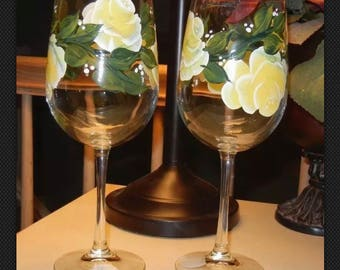 Set of Two-Yellow Rose Wine Glasses