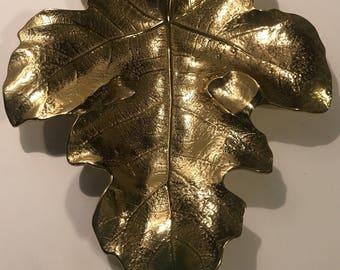 Virginia Metal Crafters FIG LEAF Brass Vintage Metal Large Dish # 4-13 1948
