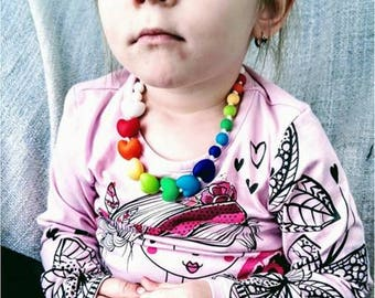 Kids/Rainbow of love necklace / girl / 14 inches