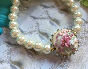 Pink and Cream Flower/Floral Bracelet, Lampwork Jewelry, SRA Lampwork Bead Bracelet, SRA Lampwork Jewelry, Gift For Her