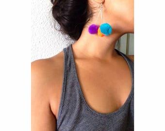 Pom Pom earrings, colorful earrings, small earrings, trendy jewelry, pom pom jewelry, stud earrings, puff ball earrings