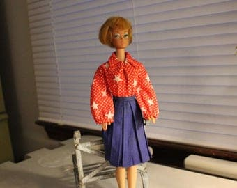 Barbie Doll Red White and Blue outfit, Barbie body suit and pleated skirt
