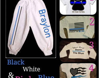 Back The Blue, Thin Blue Line, Law Enforcement, Police Babies, Unisex, Personalized for Girl or Boy