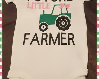 Bows and Tractors, John Deere, Tractor, Farming, Farm, Farm Girl, Future Farmer, Little Girls Onesie or Tee With Matching Bow