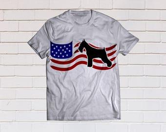 American flag svg, Schnauzer svg, flag svg, usa flag svg, schnauzer svg, Svg, Dxf,Eps, Png, Pdf, dog svg, giant schnauzer svg, pure bred svg