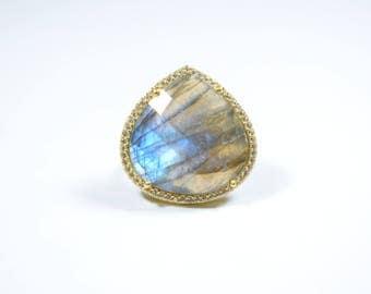 Labradorite Ring, Adjustable ring, Stack ring, Labradorite Cz Ring, Grey color ring, heart shape ring, February Birthstone ring, Pave ring,