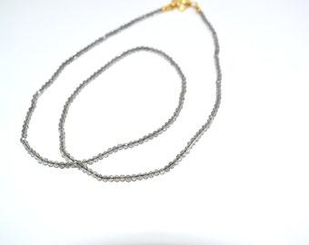 Smoky beaded necklace, choker necklace,tiny necklace,Grey color necklace,birthstone necklace,women jewelry, natural gemstone Necklace
