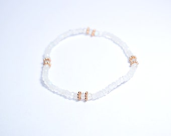 white moonstone bracelet,white color bracelet,beaded bracelet,gemstone jewelry ,birthday gift,june birthstone jewelry ,adjustable bracelet