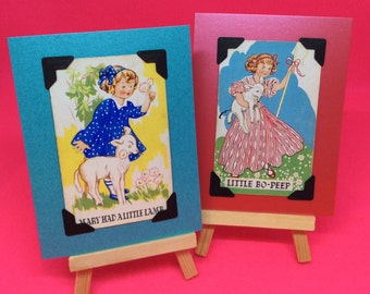 Vintage playing cards cute collectable nursery rhyme handmade unique greetings cards upcycled boy, girl, nursery decor collectible