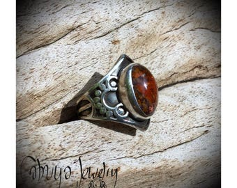 Handmade silver ring with beautiful fire opal