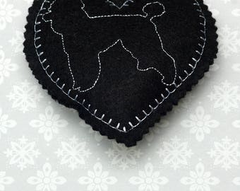Embroidered heart, felt heart,  hanging heart, machine embroidered heart, poodle, dog