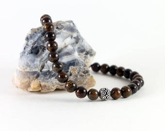 Bronzite Bracelet - Metallic Brown Bracelet with Silver Bali Bead - Women's, Men's Bracelet - Large Stretch Bracelet - Stacking Bracelet