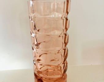 Vintage French Verre De France Mid Century Modern Pink Vase | Art Deco | Geometric Design | Vintage Vase | Made in France | Pink Glass Vase
