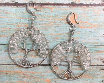 Quartz Tree of life Earrings, Clear Quartz gemstone earrings, Quartz earrings, Nature earrings, Tree Jewelry, Dangle earrings, Boho, Girly