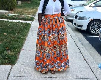 Ankara/African print orange long  skirt