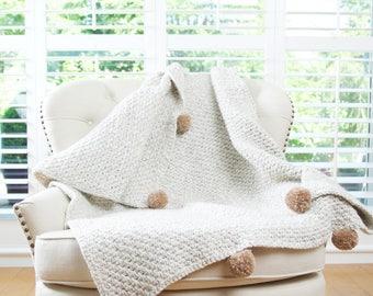 Chunky Crochet Contrast Pompom Blanket, Afghan, Throw