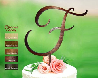 Letter f Cake Topper, personalized cake topper, custom wedding cake topper, letter cake topper, wood Initial cake topper, letter f, CT#118