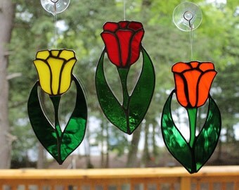 Stained Glass Tulip Suncatchers. Yellow, Orange, and Red