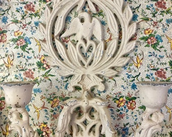 Cast Iron Wall Sconces / American Eagle and Heart / Colonial Revival