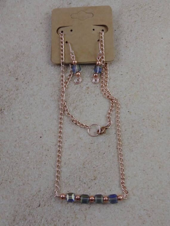 Rose gold bar necklace and earrings,Jewelry  Jewelry Sets  rose gold bar  jewelry set  rose gold earrings  rose gold necklace