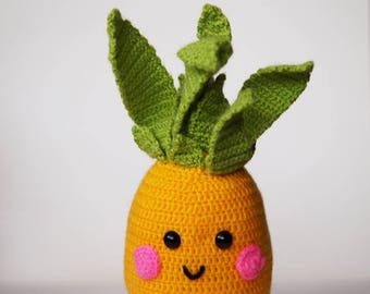 Crochet pineapple, crochet fruit, pineapple, crochet pineapple, crochet decoration, amigurumi fruit, happy  fruit, happy pineapple