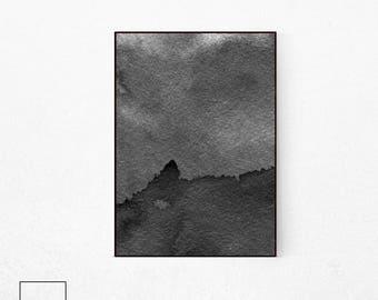 Black and White Watercolor Print, Abstract Art, Modern Printable, Minimalist Wall Art, Abstract Print, Scandinavian Print, Digital Download.