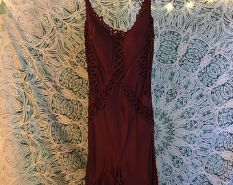 Red Vintage Dress with Lace Trim Size 4
