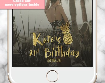 Gold Pineapple Geofilter * Gold Snapchat Geofilter Birthday Custom Snapchat Filter 30th Birthday Fiesta 21st Birth Gold Snap Chat Boho Party