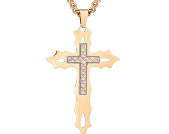 """Flaming Gold-Tone Cross with Rose Gold Diamond-Cut Cross Pendant in Stainless Steel, 18""""- 24"""" Chain"""