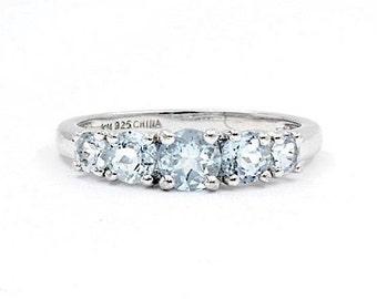 Aqua Multi Stone Ring, Size 10, 925 Sterling Silver (1479)