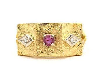 18K Yellow Gold Diamond and Sapphire Ring, Size 7 (1494)