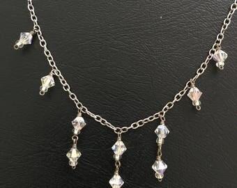 "Sterling Silver Swarovski Crystal Necklace 16"""