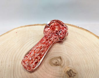 Handmade Red Blizzard Glass Tobacco Pipe, Glass Pipe, Smoking Pipe, Handblown Pipe, Handmade Pipe, Handmade Glass Pipe, Handblown Glass Pipe